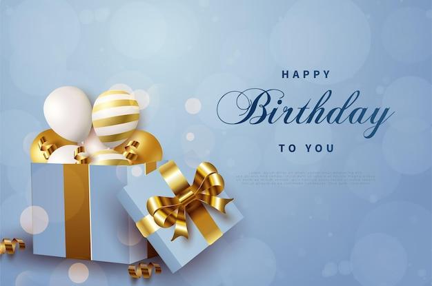 Gelukkige verjaardagsballons in een geschenkdoos.