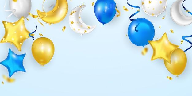 Gelukkige verjaardagsballons kleurrijke viering frame achtergrond met confetti.