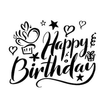 Gelukkige verjaardagsbelettering voor verjaardagskaart en printscherm op cadeau