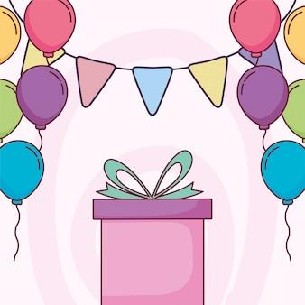 Gelukkige verjaardagscadeau en ballonnen
