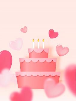Gelukkige verjaardagscake met document kunststijl en de vectorillustratie van de pastelkleurregeling