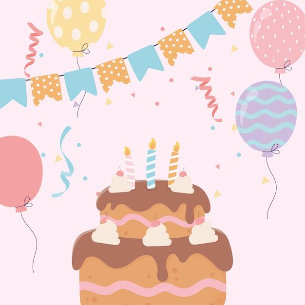 Gelukkige verjaardagscake met kaarsen ballonnen bunting vlaggen viering decoratie