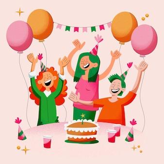 Gelukkige verjaardagsfeestje illustratie