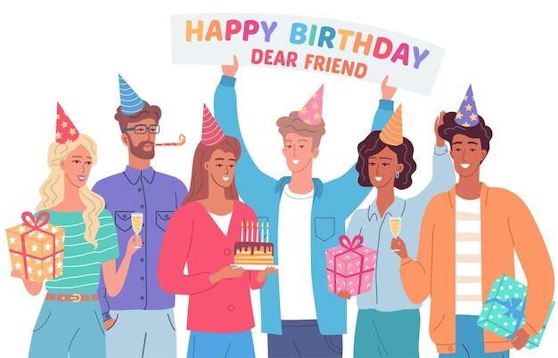 Gelukkige verjaardagsfeestje met beste vrienden wenskaart illustratie