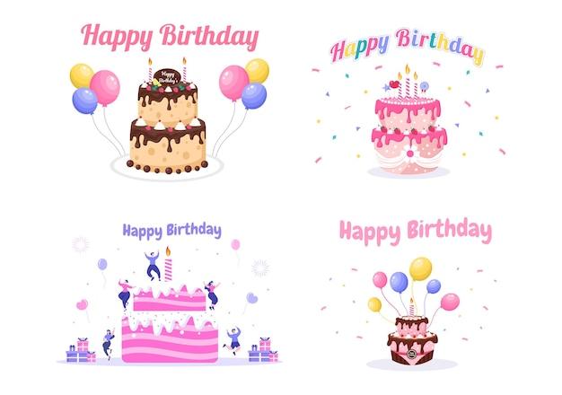 Gelukkige verjaardagsfeestje vieren illustratie met ballon, hoeden, confetti, cadeau en cake design