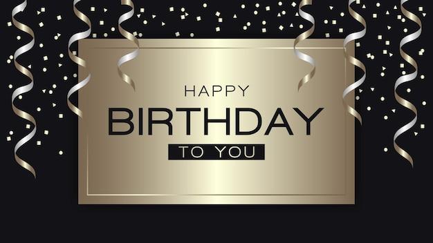 Gelukkige verjaardagsgroet met gouden serpentijn en confetti