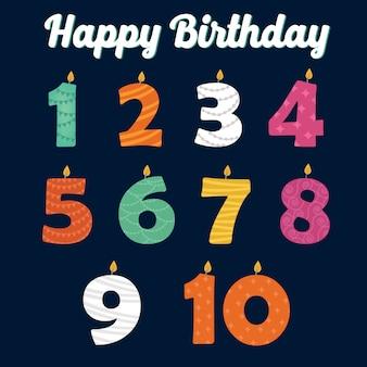 Gelukkige verjaardagskaarsen in nummers voor uw familiefeest