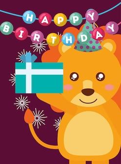 Gelukkige verjaardagskaart en schattige kleine leeuw en cadeau