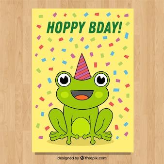 Gelukkige verjaardagskaart in hand getrokken stijl