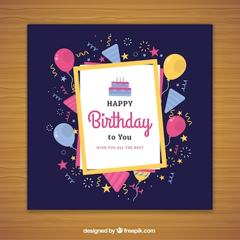 Gelukkige verjaardagskaart in vlakke stijl