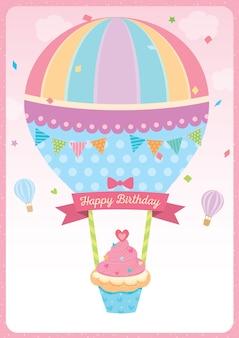 Gelukkige verjaardagskaart met ballon cupcake