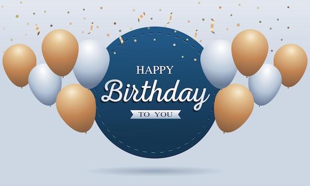 Gelukkige verjaardagskaart met ballonnen en confetti
