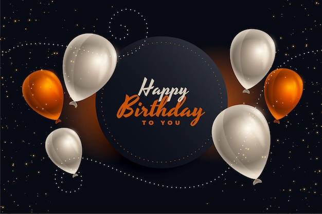 Gelukkige verjaardagskaart met ballonnen in mooie kleuren