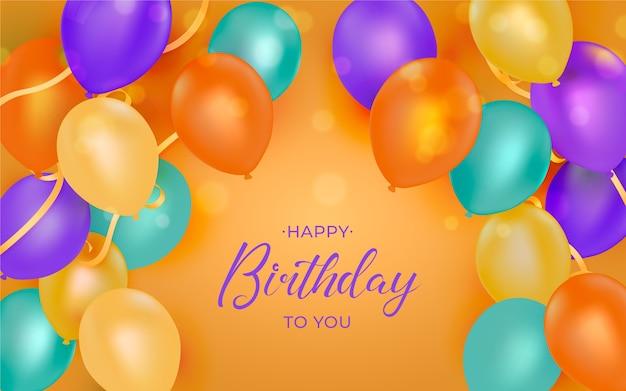Gelukkige verjaardagskaart met ballonnen Gratis Vector