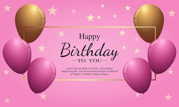 Gelukkige verjaardagskaart met ballonnen