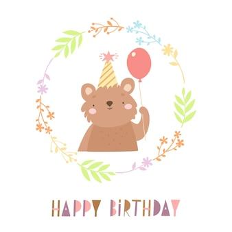 Gelukkige verjaardagskaart met beer