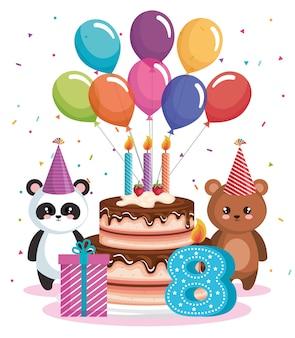 Gelukkige verjaardagskaart met berenpanda en teddy