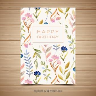 Gelukkige verjaardagskaart met bloemen in waterverfstijl