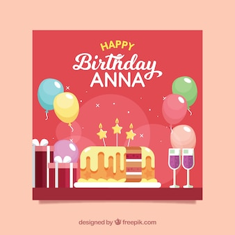 Gelukkige verjaardagskaart met cake in vlakke stijl