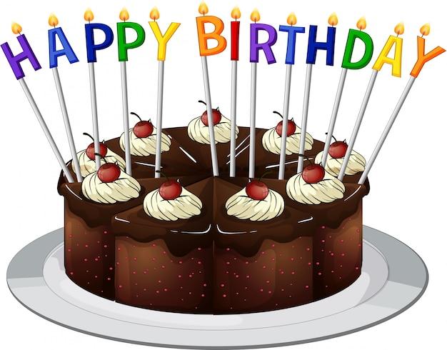 Gelukkige verjaardagskaart met chocoladetaart en kaarsen
