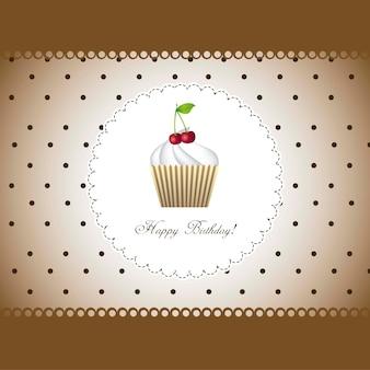 Gelukkige verjaardagskaart met cupcake