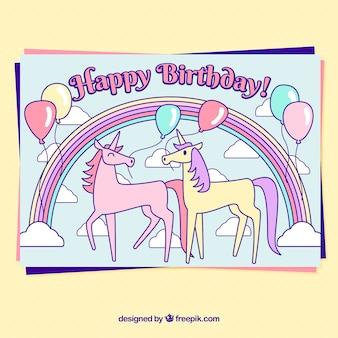 Gelukkige verjaardagskaart met eenhoorns