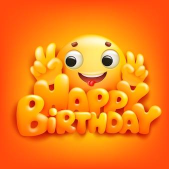 Gelukkige verjaardagskaart met emoji stripfiguur.
