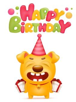 Gelukkige verjaardagskaart met gele emoji hond stripfiguur.