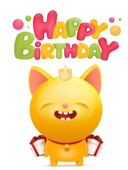 Gelukkige verjaardagskaart met gele emoji kat karakter.