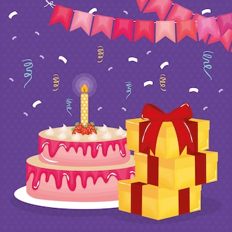 Gelukkige verjaardagskaart met geschenken en cake
