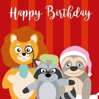 Gelukkige verjaardagskaart met grappige dieren cartoon