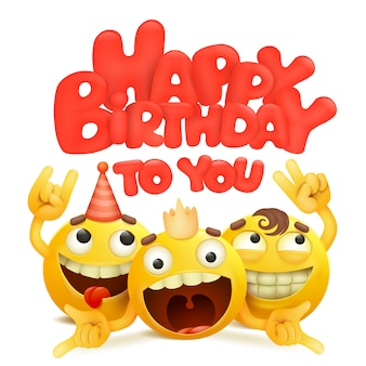 Gelukkige verjaardagskaart met groep emojis stripfiguren.