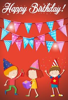 Gelukkige verjaardagskaart met jonge kinderen