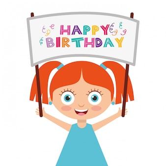 Gelukkige verjaardagskaart met kinderen