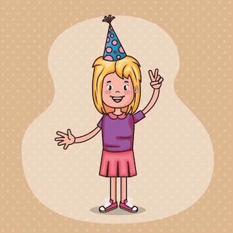 Gelukkige verjaardagskaart met klein meisje