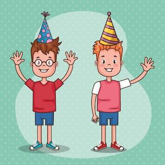 Gelukkige verjaardagskaart met kleine kinderen