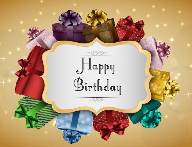Gelukkige verjaardagskaart met kleurrijke geschenkdozen
