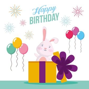 Gelukkige verjaardagskaart met konijn in cadeau en ballonnen helium scène vector illustratie ontwerp