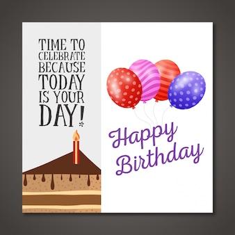 Gelukkige verjaardagskaart met lichte achtergrond en ballonnen
