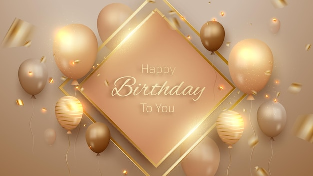 Gelukkige verjaardagskaart met luxe ballonnen en lint. 3d-realistische stijl. vectorillustratie voor ontwerp.