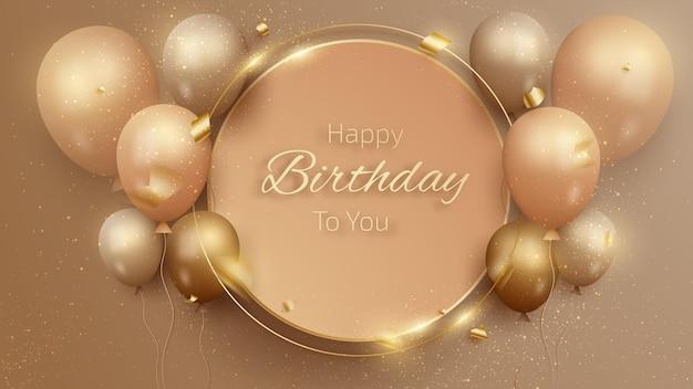 Gelukkige verjaardagskaart met luxe ballonnen en lintontwerp Premium Vector