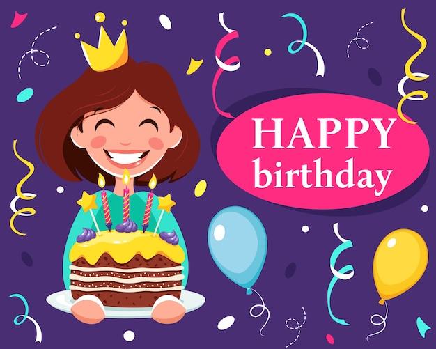 Gelukkige verjaardagskaart met meisje en cake