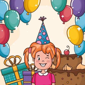 Gelukkige verjaardagskaart met meisje