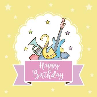 Gelukkige verjaardagskaart met muziekinstrumenten