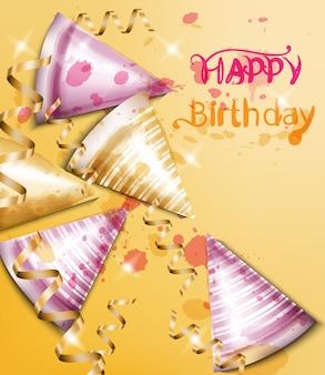 Gelukkige verjaardagskaart met partijhoedenwaterverf