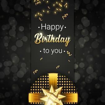 Gelukkige verjaardagskaart met realistische geschenk, gouden vallende linten en gloeiende sparkles op donkere achtergrond