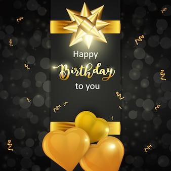 Gelukkige verjaardagskaart met realistische gouden hartvormige ballonnen en gouden strik op donkere achtergrond