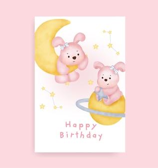Gelukkige verjaardagskaart met schattig konijn op de maan
