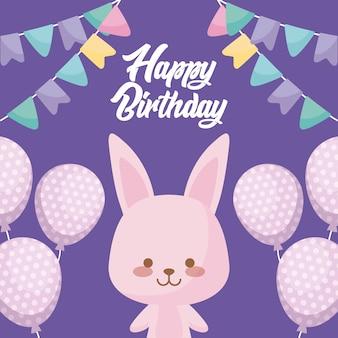 Gelukkige verjaardagskaart met schattig konijn
