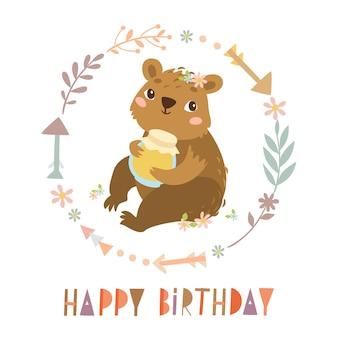 Gelukkige verjaardagskaart met schattige beer met honing